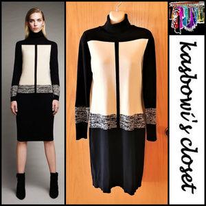 Colorblock Turtleneck Sweater Dress
